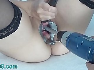 Peehole Play on camera with Drilldo and Bladder filled up with Cum and Piss