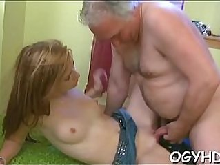 Hot young blonde babe screwed by old lad
