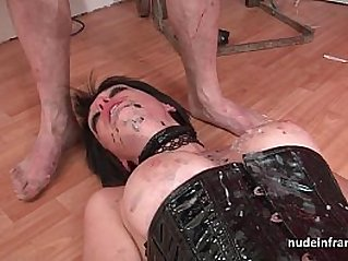 Big boobed french babe hard corrected in BDSM action