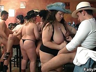 Bar orgy with fat whores