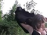 PublicAgent HD Brunette with natural boobs fucking outside