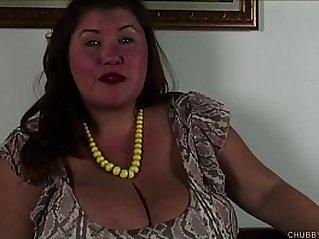 Super cute chubby honey talks dirty and fucks her juicy pussy